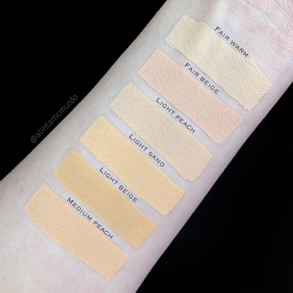 ELF 16HR Camo Concealer swatches and review - top to bottom: Fair Warm, Fair Beige, Light Peach, Light Sand, Light Beige and Medium Peach - Love Alinta cruelty free beauty blog